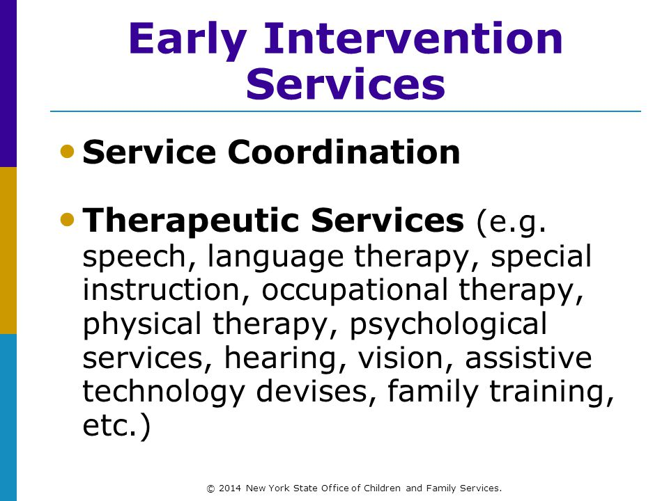 Early Intervention Services Service Coordination Therapeutic Services (e.g.