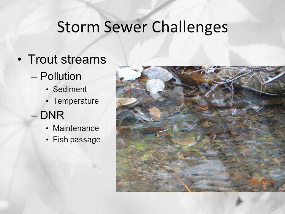 Storm Sewer Challenges Trout streams –Pollution Sediment Temperature –DNR Maintenance Fish passage
