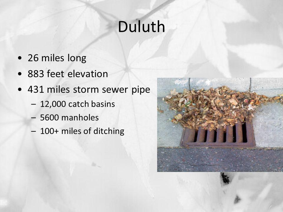 Duluth 26 miles long 883 feet elevation 431 miles storm sewer pipe –12,000 catch basins –5600 manholes –100+ miles of ditching