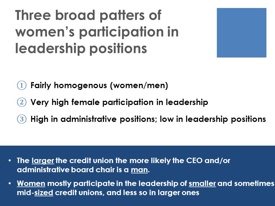 ① Fairly homogenous (women/men) ② Very high female participation in leadership ③ High in administrative positions; low in leadership positions Three broad patters of women's participation in leadership positions The larger the credit union the more likely the CEO and/or administrative board chair is a man.