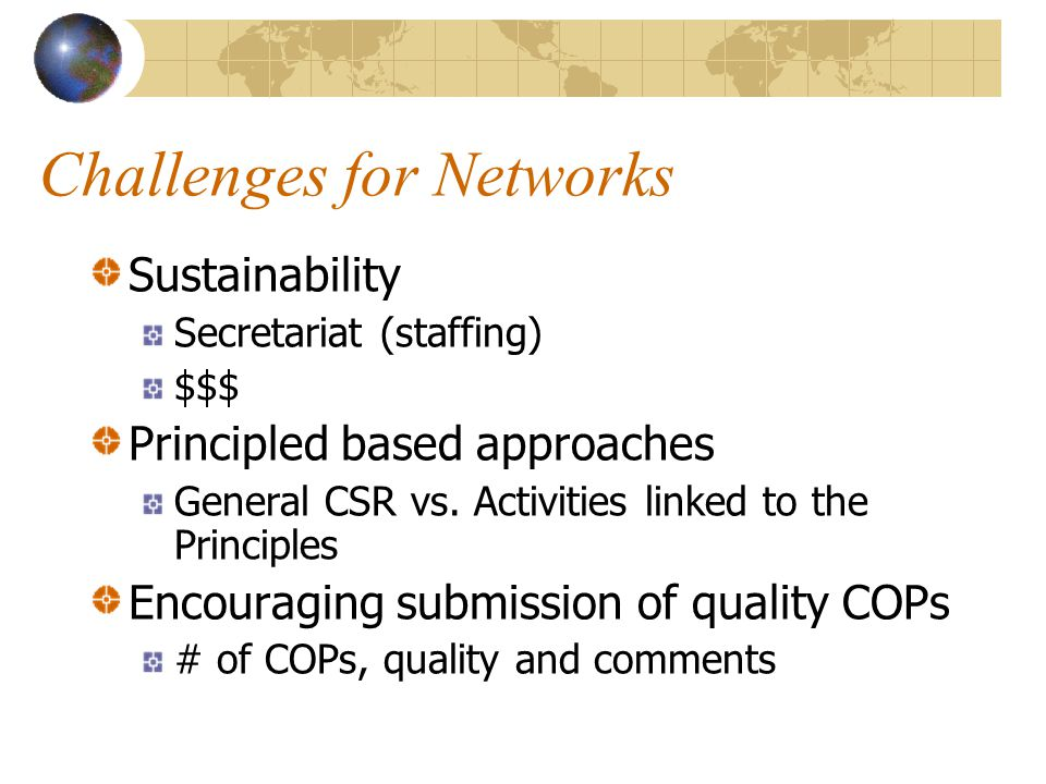 Challenges for Networks Sustainability Secretariat (staffing) $$$ Principled based approaches General CSR vs.
