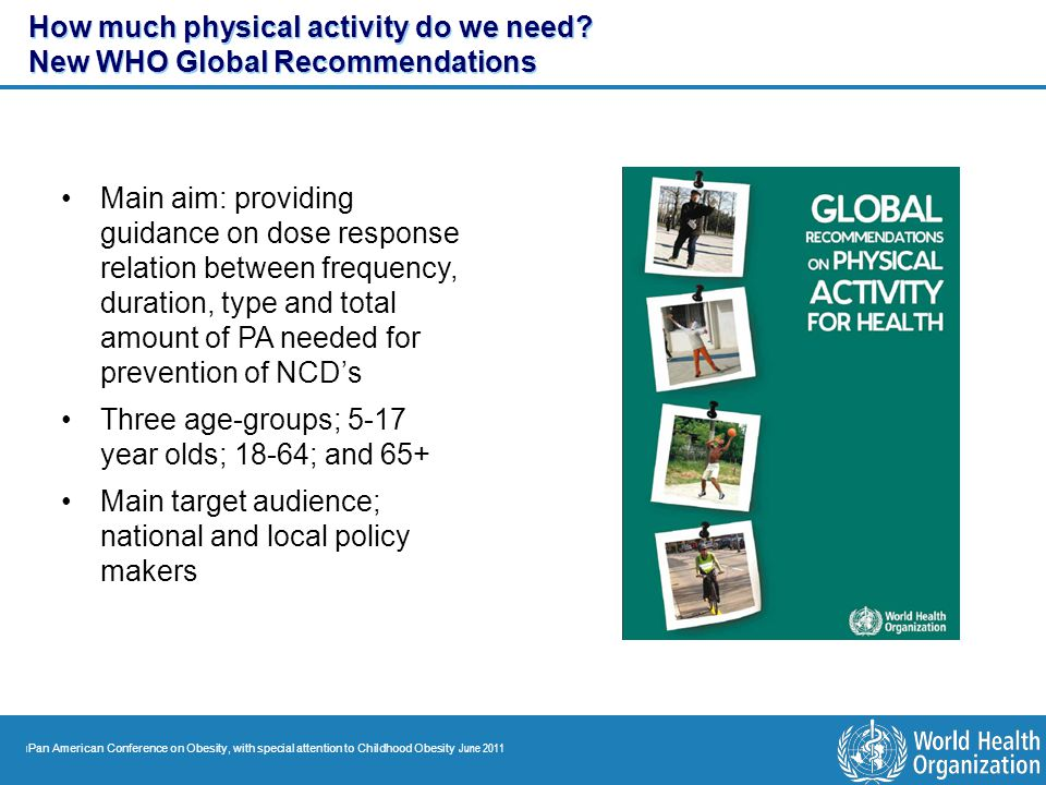 | Pan American Conference on Obesity, with special attention to Childhood Obesity June 2011 How much physical activity do we need? New WHO Global Reco
