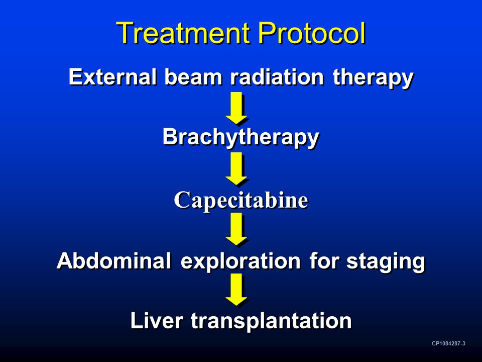 CP1084287-3 Treatment Protocol External beam radiation therapy Brachytherapy Capecitabine Abdominal exploration for staging Liver transplantation External beam radiation therapy Brachytherapy Capecitabine Abdominal exploration for staging Liver transplantation