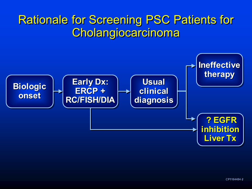 Rationale for Screening PSC Patients for Cholangiocarcinoma CP1164484-2 Biologic onset Early Dx: ERCP + RC/FISH/DIA Usual clinical diagnosis Ineffective therapy .
