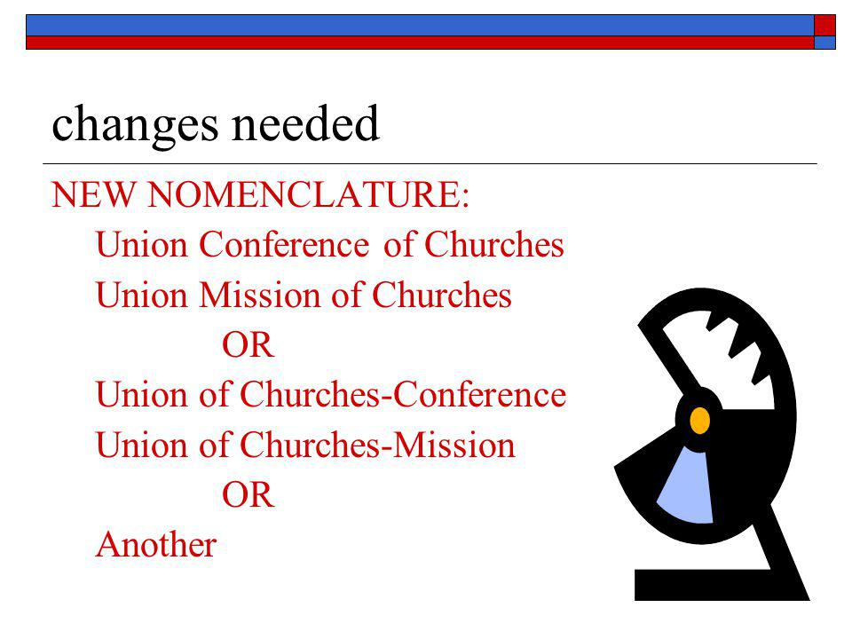 changes needed NEW NOMENCLATURE: Union Conference of Churches Union Mission of Churches OR Union of Churches-Conference Union of Churches-Mission OR A