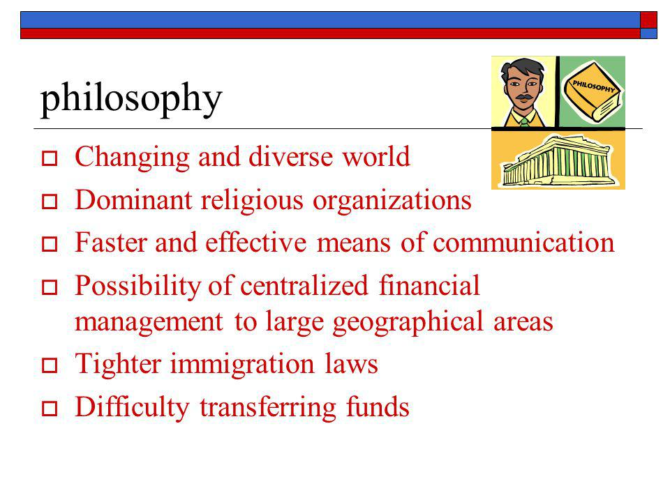 philosophy  Changing and diverse world  Dominant religious organizations  Faster and effective means of communication  Possibility of centralized