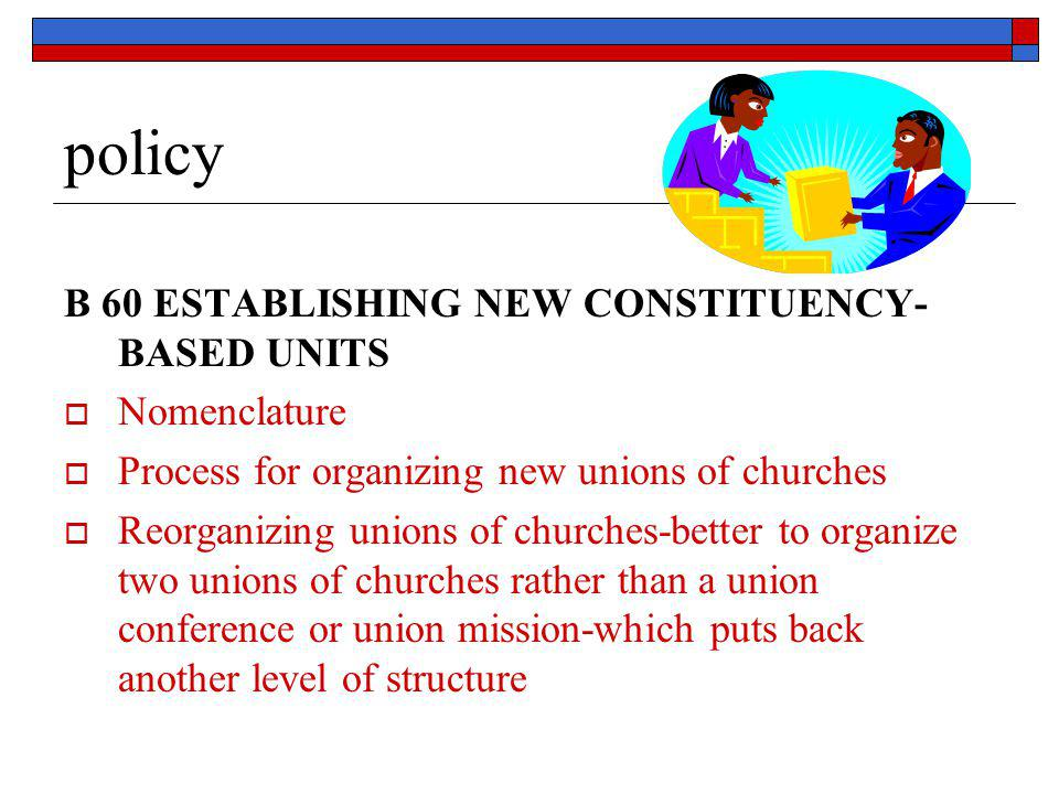 policy B 60 ESTABLISHING NEW CONSTITUENCY- BASED UNITS  Nomenclature  Process for organizing new unions of churches  Reorganizing unions of churche