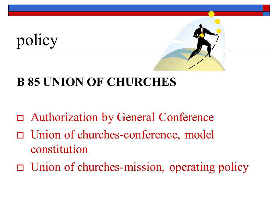 policy B 85 UNION OF CHURCHES  Authorization by General Conference  Union of churches-conference, model constitution  Union of churches-mission, op