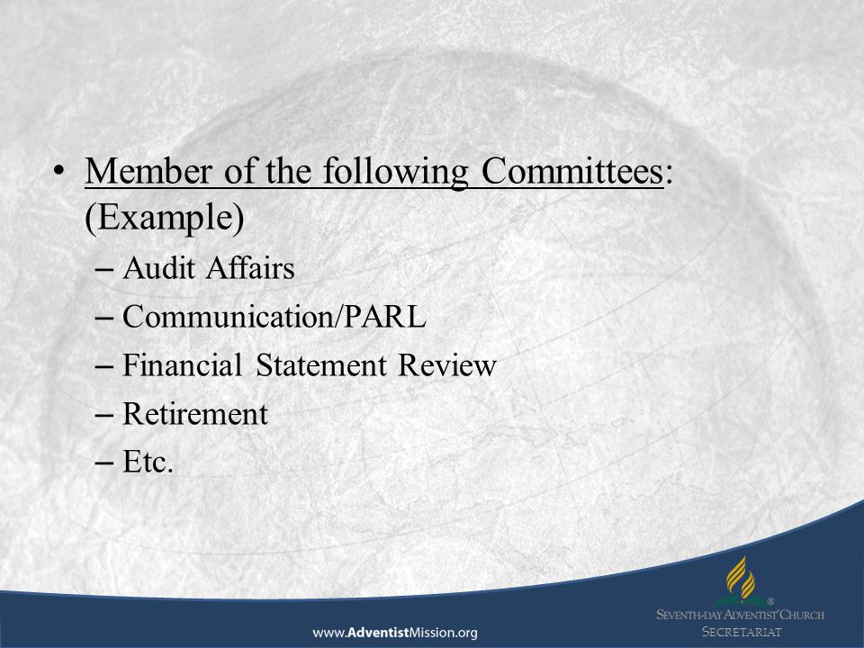 S ECRETARIAT Member of the following Committees: (Example) – Audit Affairs – Communication/PARL – Financial Statement Review – Retirement – Etc.