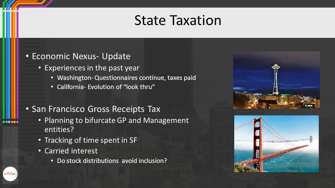 "State Taxation Economic Nexus- Update Experiences in the past year Washington- Questionnaires continue, taxes paid California- Evolution of ""look thru"