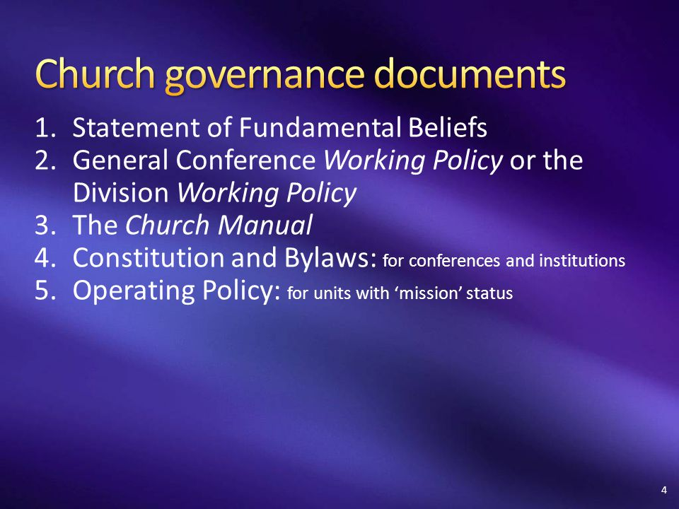 1.Statement of Fundamental Beliefs 2.General Conference Working Policy or the Division Working Policy 3.The Church Manual 4.Constitution and Bylaws: f