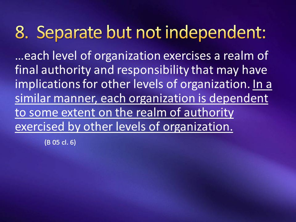 …each level of organization exercises a realm of final authority and responsibility that may have implications for other levels of organization. In a