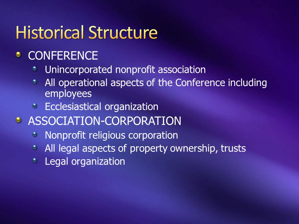 CONFERENCE Unincorporated nonprofit association All operational aspects of the Conference including employees Ecclesiastical organization ASSOCIATION-