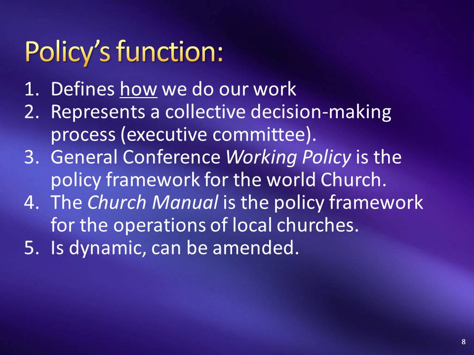 3.Name four of the eight key concepts of Seventh-day Adventist organization.
