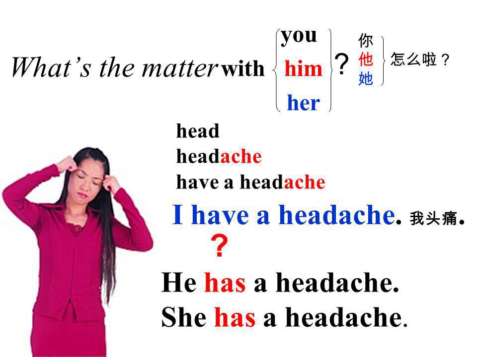 stomach stomachache have a stomachache What's the matter with you him her 你 他 怎么啦? 她 .