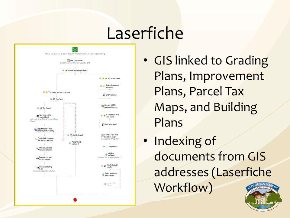 Laserfiche GIS linked to Grading Plans, Improvement Plans, Parcel Tax Maps, and Building Plans Indexing of documents from GIS addresses (Laserfiche Wo