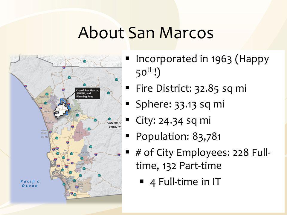 About San Marcos  Incorporated in 1963 (Happy 50 th !)  Fire District: 32.85 sq mi  Sphere: 33.13 sq mi  City: 24.34 sq mi  Population: 83,781 