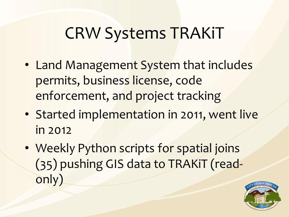 CRW Systems TRAKiT Land Management System that includes permits, business license, code enforcement, and project tracking Started implementation in 20