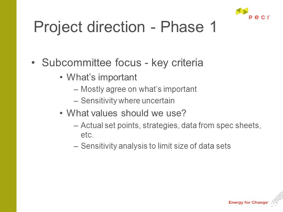 Project direction - Phase 1 Subcommittee focus - key criteria What's important –Mostly agree on what's important –Sensitivity where uncertain What values should we use.