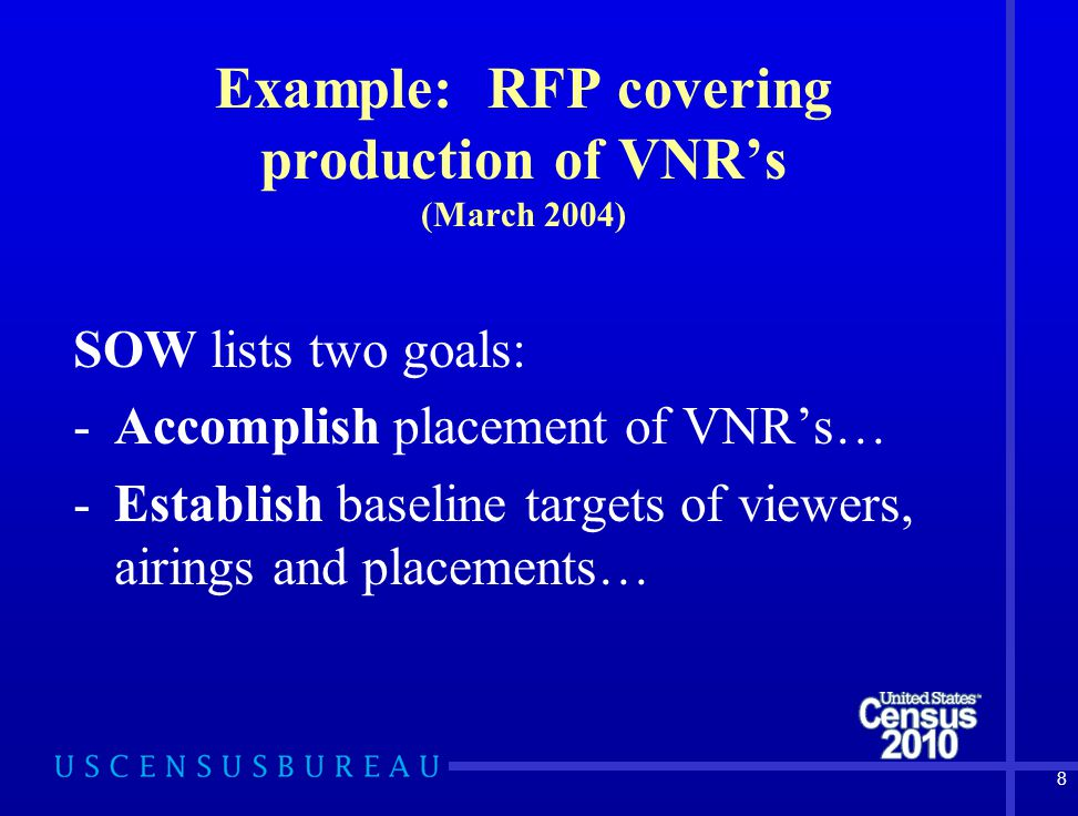 9 Example: RFP covering production of VNR's (March 2004) SOW Specific Tasks Intro: Contractor shall be responsible for developing a comprehensive (yearly) plan to line produce…etc.