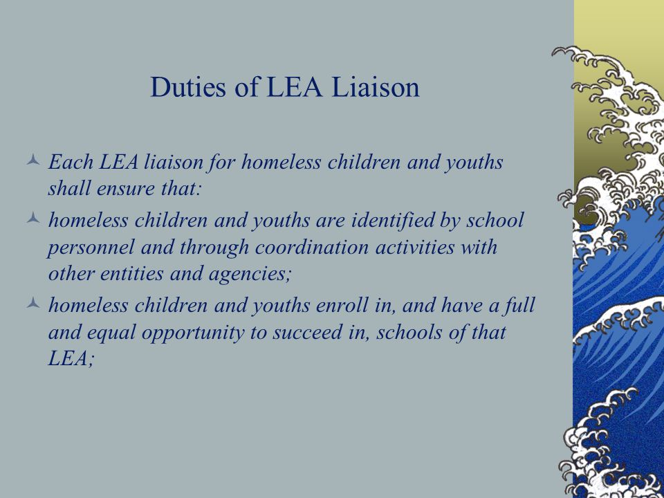 Duties of LEA Liaison Each LEA liaison for homeless children and youths shall ensure that: homeless children and youths are identified by school perso