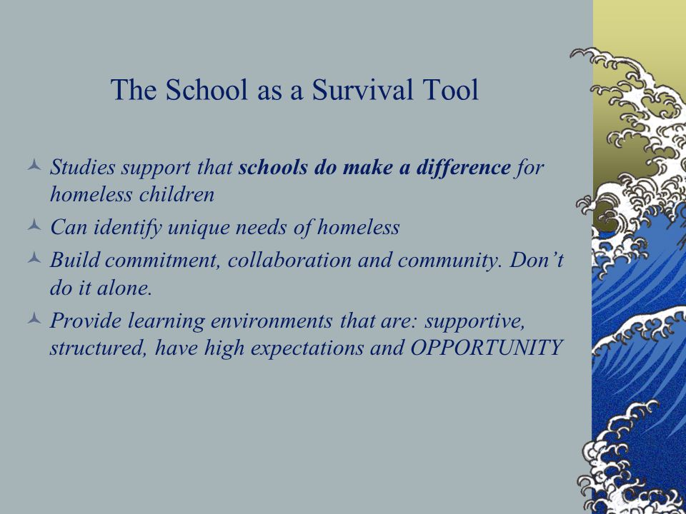 The School as a Survival Tool Studies support that schools do make a difference for homeless children Can identify unique needs of homeless Build comm