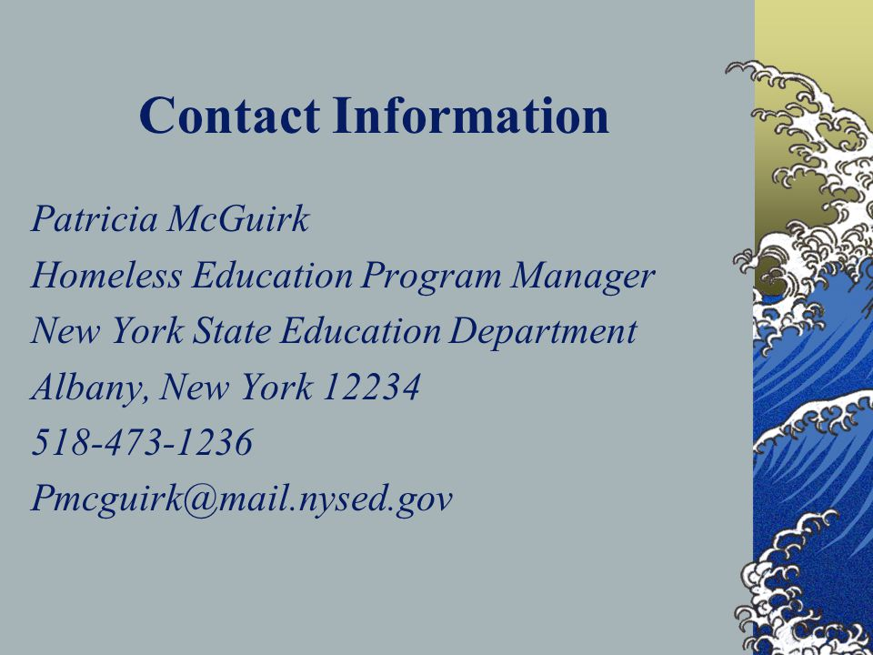 Contact Information Patricia McGuirk Homeless Education Program Manager New York State Education Department Albany, New York 12234 518-473-1236 Pmcgui
