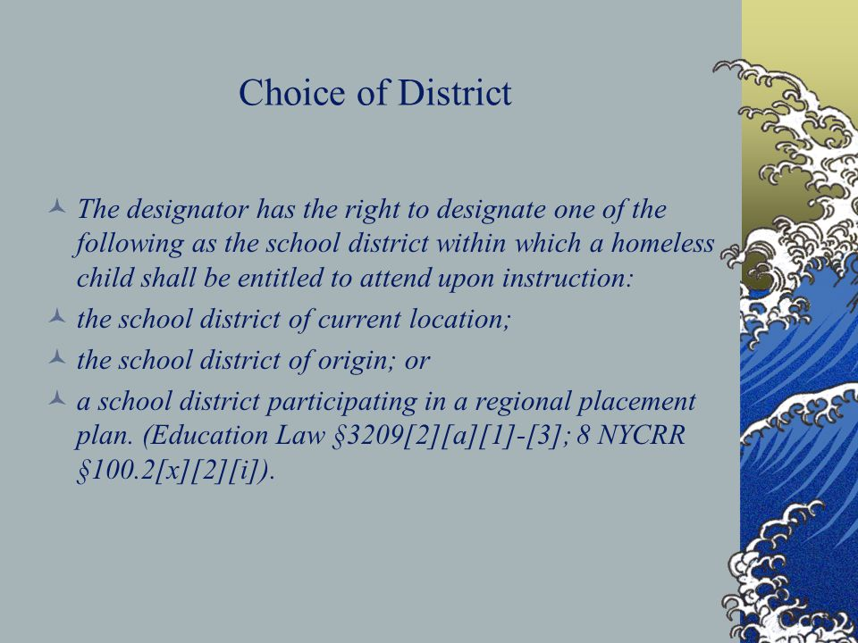 Choice of District The designator has the right to designate one of the following as the school district within which a homeless child shall be entitl