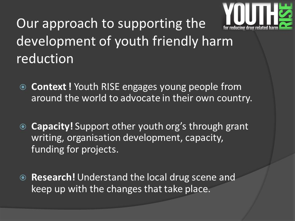 Effective youth harm reduction services  Young people are not a homogenized group.