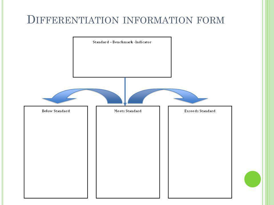 D IFFERENTIATION INFORMATION FORM