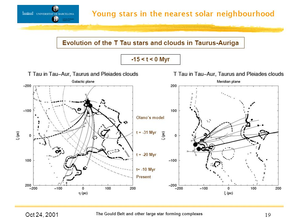Young stars in the nearest solar neighbourhood Oct 24, 2001 The Gould Belt and other large star forming complexes 19 Evolution of the T Tau stars and