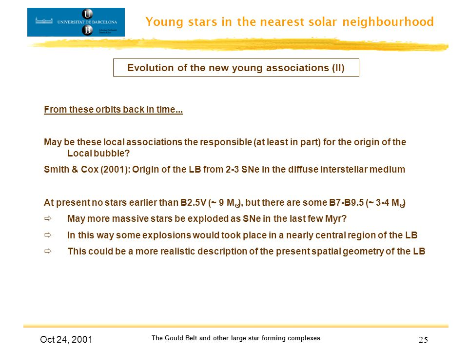 Young stars in the nearest solar neighbourhood Oct 24, 2001 The Gould Belt and other large star forming complexes 25 Evolution of the new young associ
