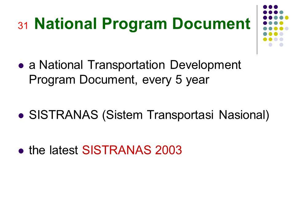 31 National Program Document a National Transportation Development Program Document, every 5 year SISTRANAS (Sistem Transportasi Nasional) the latest SISTRANAS 2003
