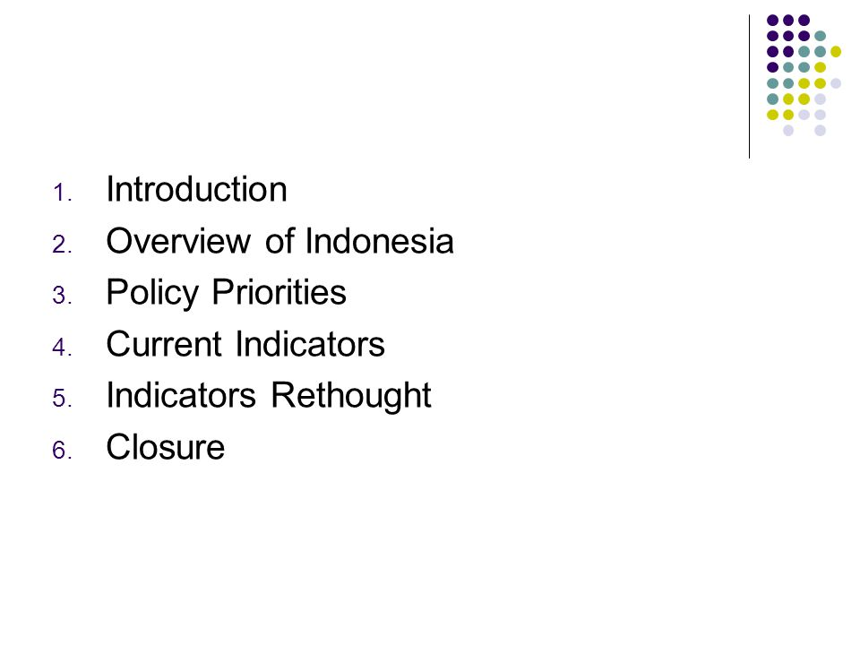 1. Introduction 2. Overview of Indonesia 3. Policy Priorities 4.