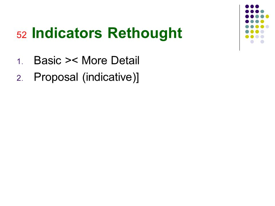 52 Indicators Rethought 1. Basic >< More Detail 2. Proposal (indicative)]