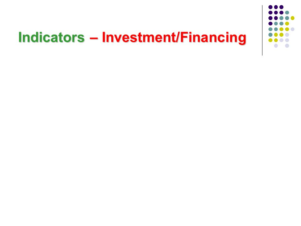 Indicators – Investment/Financing