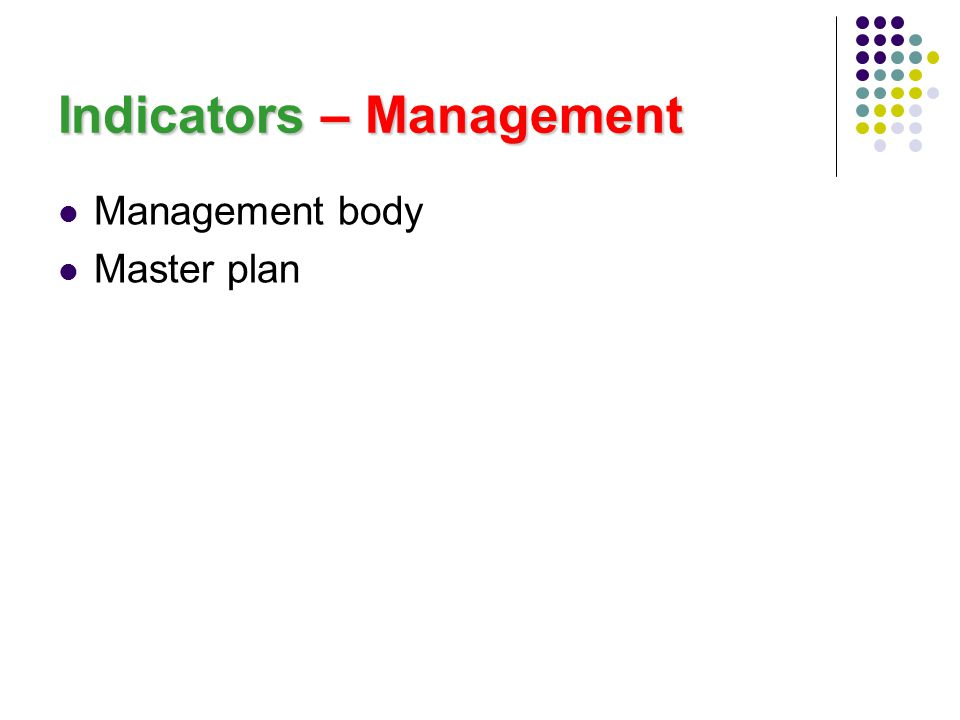 Indicators – Management Management body Master plan