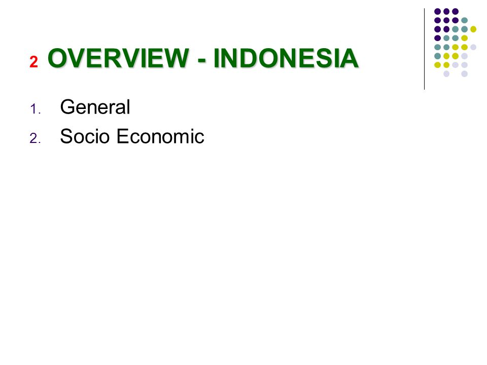 OVERVIEW - INDONESIA 2 OVERVIEW - INDONESIA 1. General 2. Socio Economic