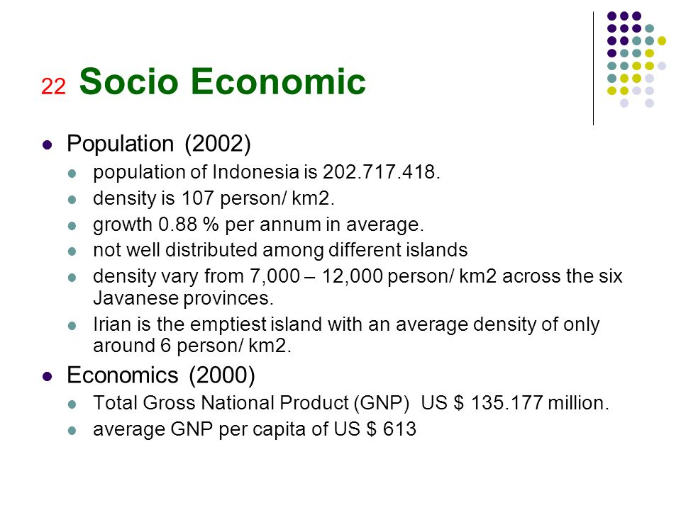 22 Socio Economic Population (2002) population of Indonesia is 202.717.418. density is 107 person/ km2. growth 0.88 % per annum in average. not well d