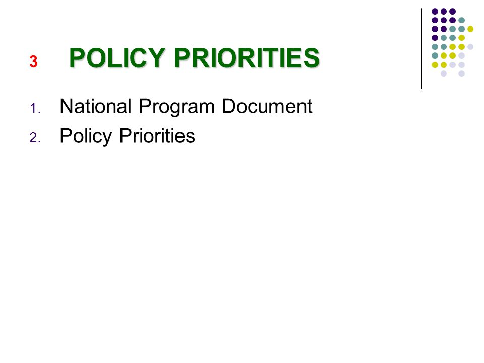 POLICY PRIORITIES 3 POLICY PRIORITIES 1. National Program Document 2. Policy Priorities