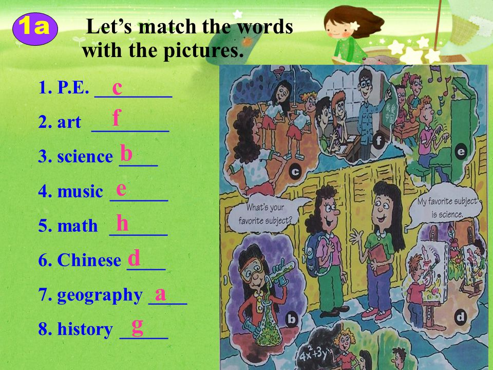 math music history Chinese science P.E.P.E. geography English art IT