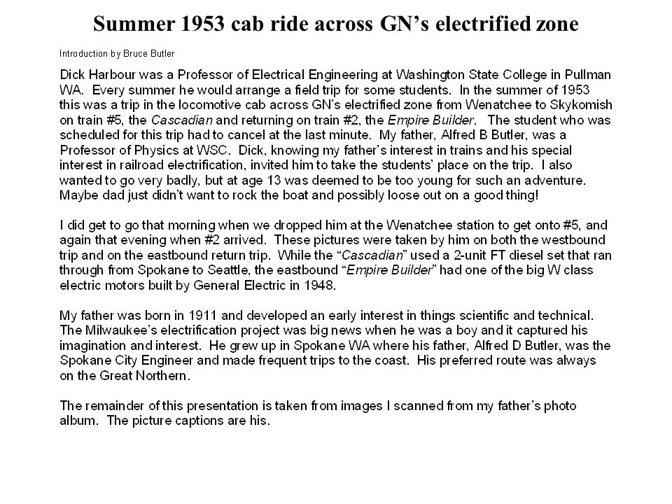 Summer 1953 cab ride across GN's electrified zone