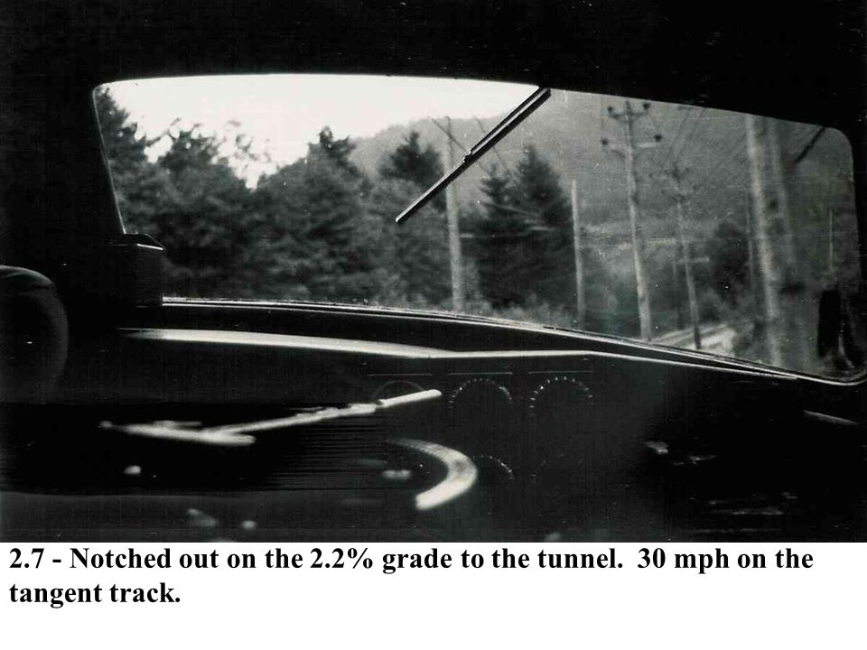 2.7 - Notched out on the 2.2% grade to the tunnel. 30 mph on the tangent track.