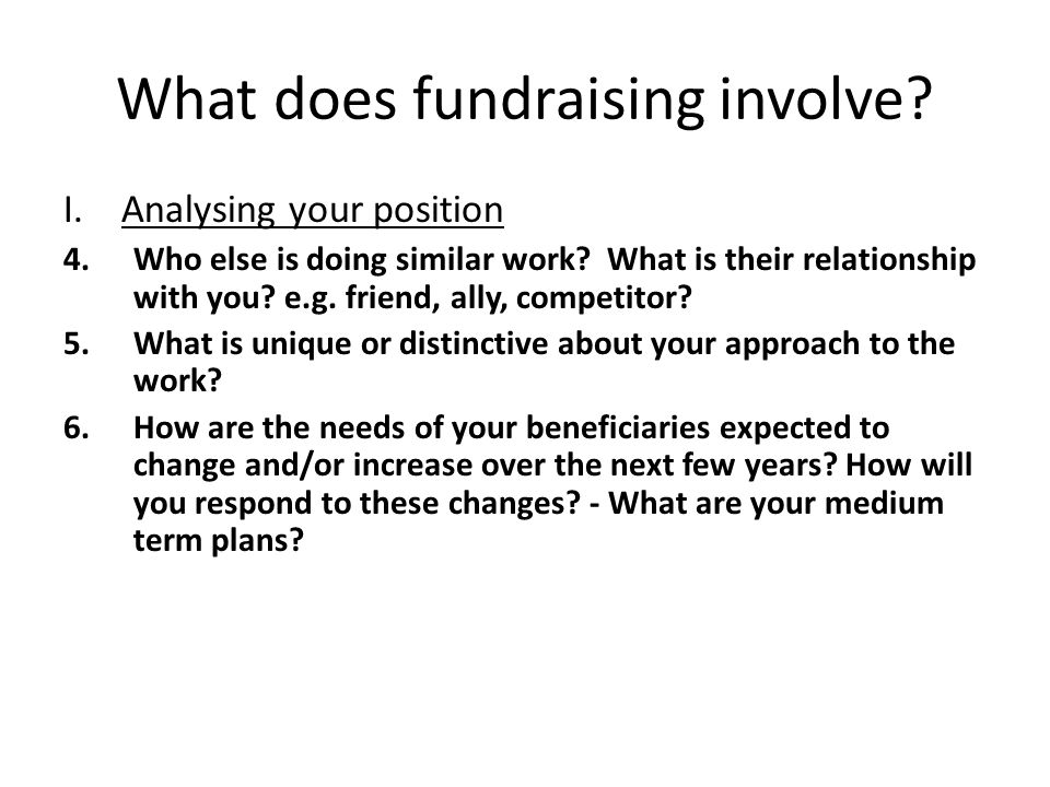 What does fundraising involve. I. Analysing your position 4.Who else is doing similar work.