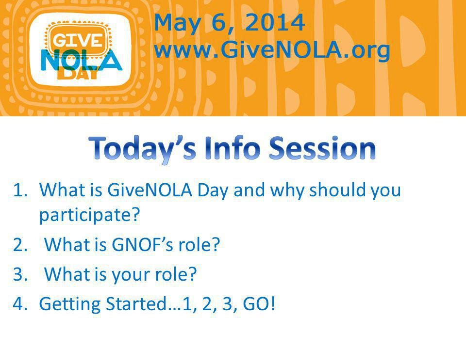 Host GiveNOLA: Provide online platform, www.GiveNOLA.org Promote the day Start a local movement, One Day to Give as One!