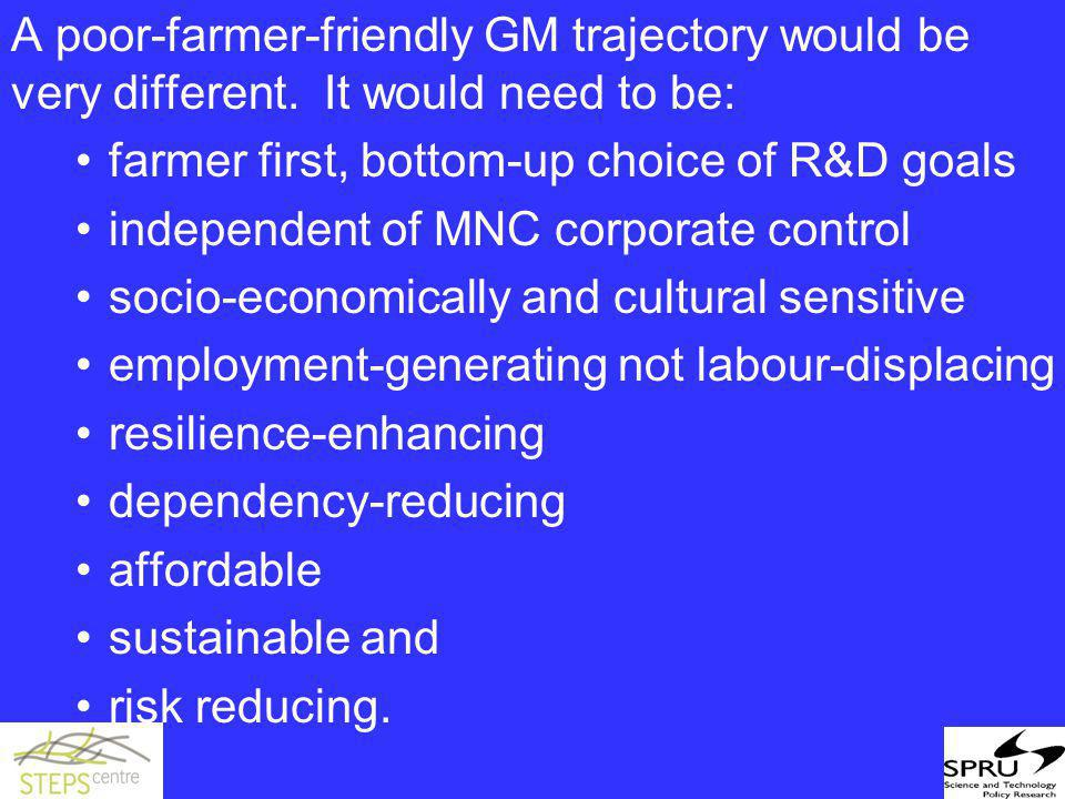 A poor-farmer-friendly GM trajectory would be very different.