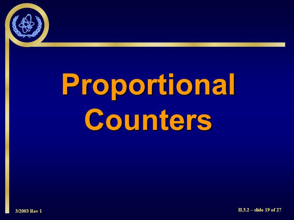 3/2003 Rev 1 II.3.2 – slide 19 of 27 ProportionalCounters