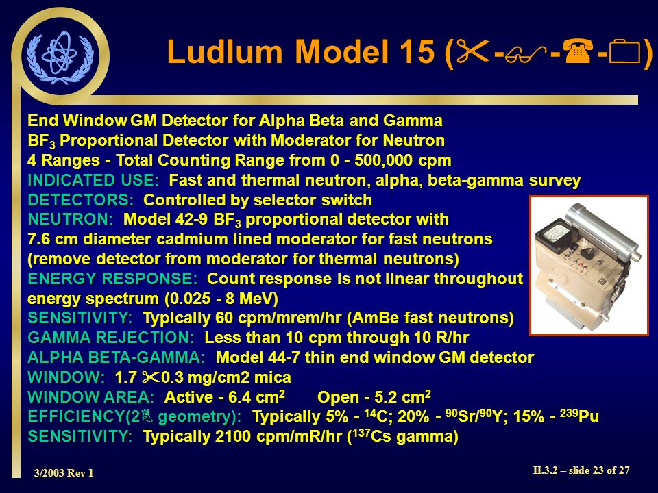 3/2003 Rev 1 II.3.2 – slide 23 of 27 End Window GM Detector for Alpha Beta and Gamma BF 3 Proportional Detector with Moderator for Neutron 4 Ranges -