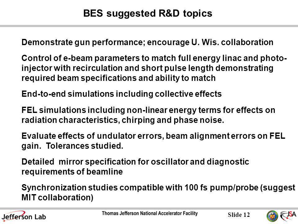 Slide 12 BES suggested R&D topics Demonstrate gun performance; encourage U.