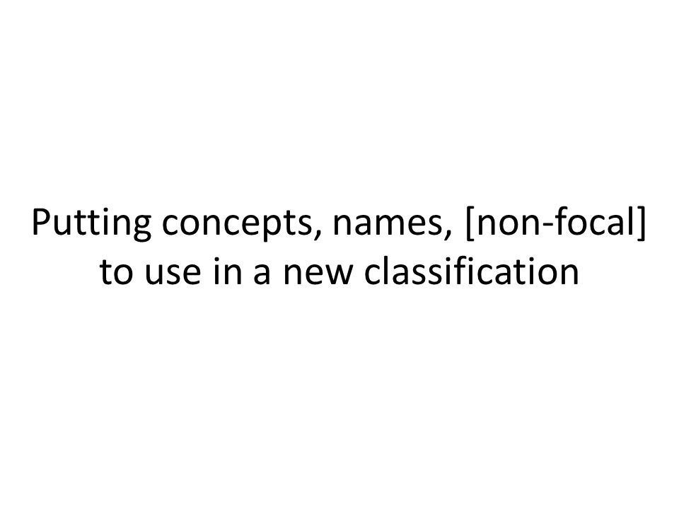 Putting concepts, names, [non-focal] to use in a new classification